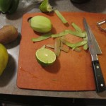 Kiwis and a Lime on the Cutting Board